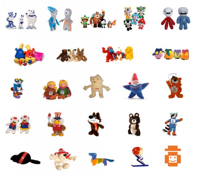 Olympic mascot toys Sochi 2014 to 1968