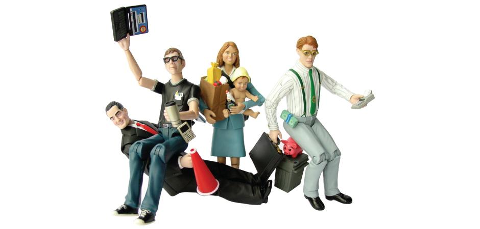 Happy Worker GeekMan BossMan MoneyMan SuperMom Action Figures