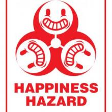 Happiness Hazard office sign