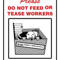 Do Not Feed or Tease Workers office sign